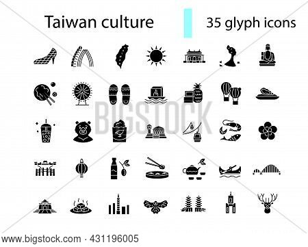 Taiwanese Style Culture Glyph Icons Set. Asian Attractions. Oriental Specialty Of Taiwan. Black Fill