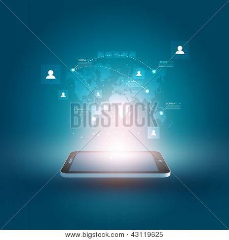Futuristisches Handy-Vektor-Illustration mit holographischen Weltkarte und Social Media Icons | EPS1