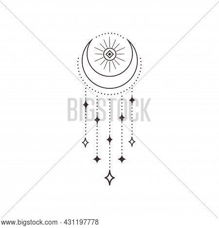Divine Beauty Premade Logo Design. Black Crescent