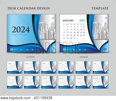 Desk Calendar 2024 Template Set, Cover Design, Blue Wave Background, Wall Calendar 2024 Design, Plan