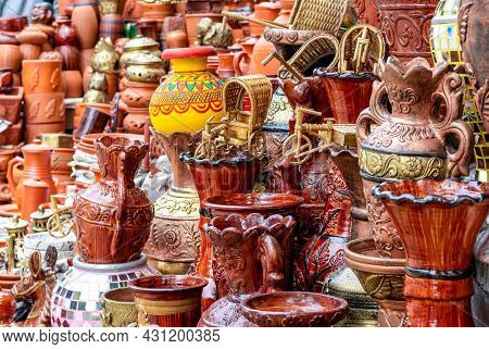 Handcrafted Traditional Small Clay Pottery And Terracotta Items Shop Beside The Road
