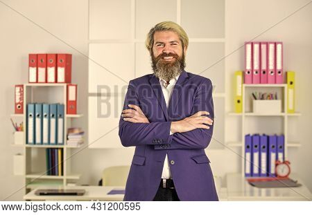 Patience And Fortitude. Portrait Of Businessman Standing In Office. Professional Businessman Waiting
