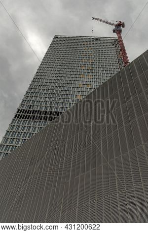 Construction Site Of The New Skyscraper One, Frankfurt Am Main, Germany