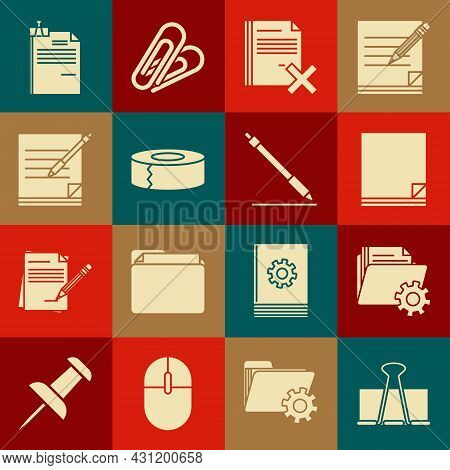 Set Binder Clip, Folder Settings With Gears, File Document, Delete File, Scotch, Blank Notebook And