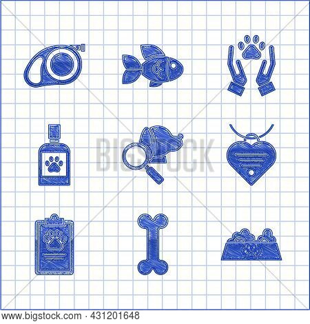 Set Veterinary Clinic Symbol, Collar With Name Tag And Heart, Clipboard Medical Clinical Record Pet,