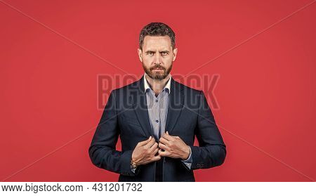 Handsome Unshaven Businessman In Jacket. Confident Bearded Guy Grooming.
