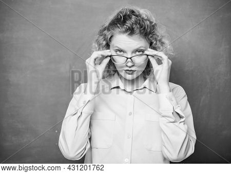 I See You. Girl Teacher At School Lesson. New School Year. Girl Prepare For Exams. Formal Informal A