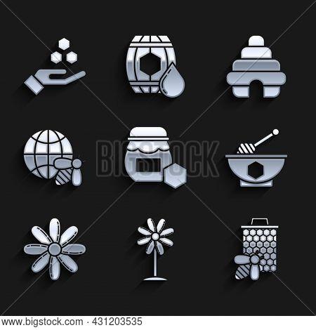 Set Jar Of Honey, Flower, Bee And Honeycomb, Honey Dipper Stick Bowl, Honeycomb Map The World Bee, H