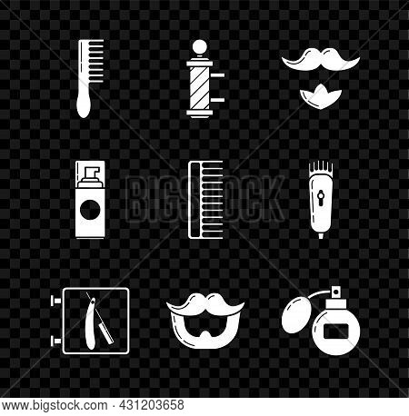 Set Hairbrush, Classic Barber Shop Pole, Mustache And Beard, Barbershop With Razor, Aftershave, Shav