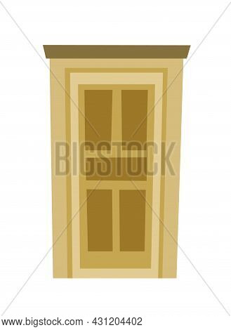 Paneled Door Is Closed. Doorway Of House Or Apartment. Entrance Is Outside. Cheerful Cartoon Style.