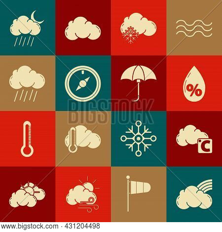 Set Rainbow With Clouds, Celsius And, Water Drop Percentage, Cloud Snow, Wind Rose, Rain, Moon And C