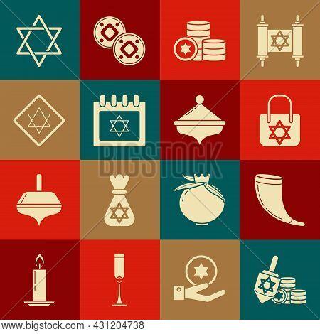 Set Hanukkah Dreidel And Coin, Traditional Ram Horn, Shofar, Shopping Bag With Star David, Jewish, C
