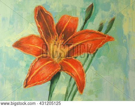 Lily Flower. Oil Painting On Canvas. Summer Flowers. Nice Lily Flower And Buds