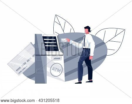 Bank Flat Composition With Man Going To Withdraw Money From Atm Vector Illustration