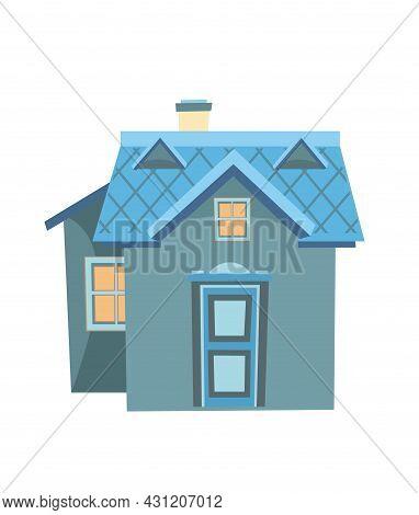 Little Cartoon House. Night Twilight. Cozy Rustic Dwelling In A Traditional European Style. Nice Dar