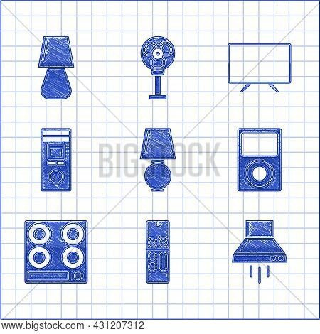 Set Table Lamp, Remote Control, Kitchen Extractor Fan, Music Player, Gas Stove, Smart Tv And Icon. V