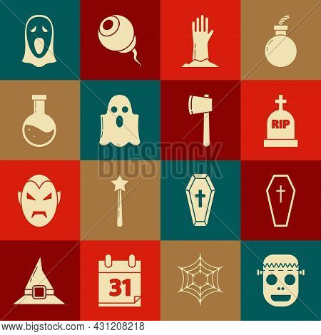 Set Zombie Mask, Coffin With Christian Cross, Tombstone Rip, Hand, Ghost, Bottle Potion, Funny Scary