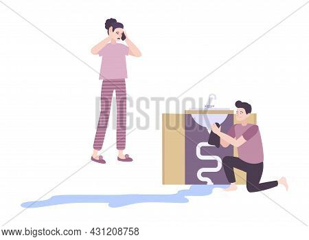 People With Leaking Sink Calling Plumber Flat Vector Illustration