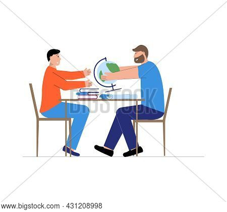 Happy Student Having Geography Lesson With His Tutor Flat Vector Illustration