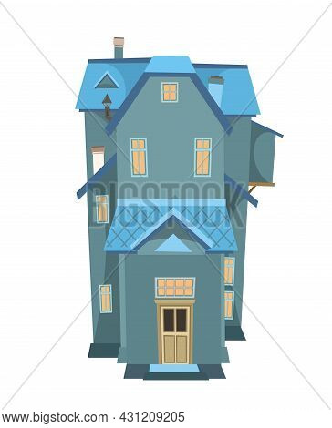 Simple Tall Cartoon House. Night Twilight. Cozy Rustic Dwelling In A Traditional European Style. Nic