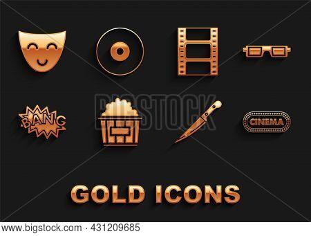 Set Popcorn In Cardboard Box, 3d Cinema Glasses, Cinema Poster Design Template, Knife, Bang Boom Tex