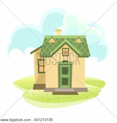 Little Cartoon House In The Meadow. Beautiful View. Cozy Rustic Dwelling In A Traditional European S