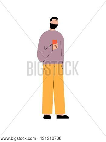 Flat Color Icon With Dark Haired Bearded Man Holding Smartphone Vector Illustration