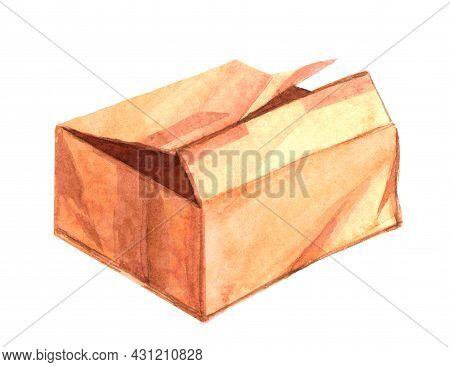 Damage Parcel Box Watercolor, Broken Cardboard Box Brown, Old Box Broken For Damage For Cargo Concep