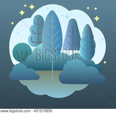 Night Forest. Flat Cartoon Style Symbolic Illustration. Landscape In Dark Colors. Rural Wildlife Shr