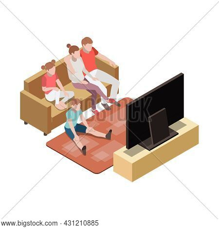Family Watching Tv Together In Living Room Isometric Vector Illustration