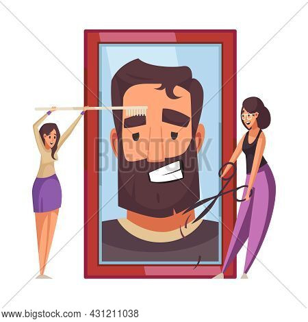 Barber Shop Flat Composition With Two Stylists Cutting Man Beard And Brushing Eyebrows Vector Illust