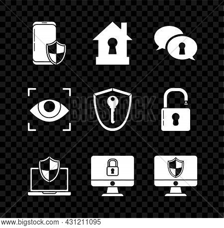 Set Smartphone With Security Shield, House Under Protection, Protection Of Personal Data, Laptop Pro