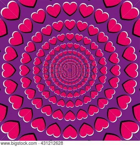 Motion Illusion With Heart Symbols. Peripheral Drift Illusion, Made Of Pink Hearts On A Purple Backg
