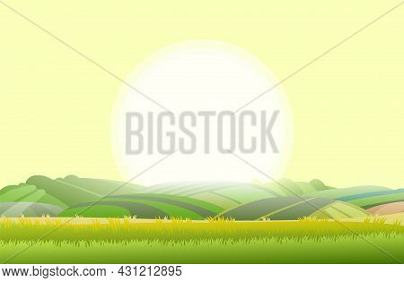 Spring Juicy Meadow. Rural Landscape With Grass And Orchard Farmer Hills. Cute Funny Cartoon Design.