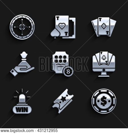 Set Online Slot Machine, Lottery Ticket, Casino Chip With Dollar, Poker Table Game, Win, Hand Holdin