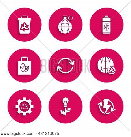 Set Refresh, Light Bulb With Leaf, Recharging, Planet Earth And Recycling, Recycle Symbol Gear, Pape