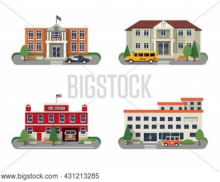 Municipal Buildings Icons Set With Police Department Fire Station School And Hospital Isolated Vecto