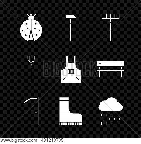 Set Ladybug, Hammer, Garden Rake, Scythe, Waterproof Rubber Boot, Cloud With Rain, Pitchfork And Kit