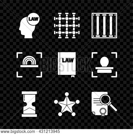 Set Head With Law, Prison Window, Old Hourglass, Hexagram Sheriff, Document Search, Fingerprint And