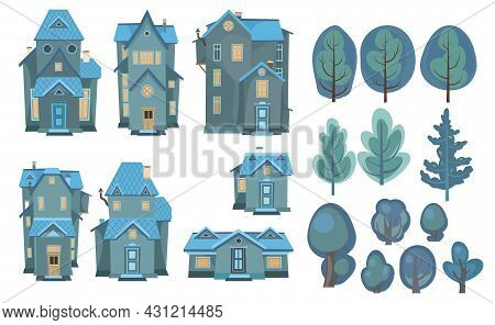 Set Of Cartoon Houses And Trees. At Night. A Beautiful, Cozy Country House In A Traditional European