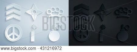 Set Dynamite Bomb Stick Clock, Brass Knuckles, Peace, Hand Grenade, Japanese Ninja Shuriken And Mili