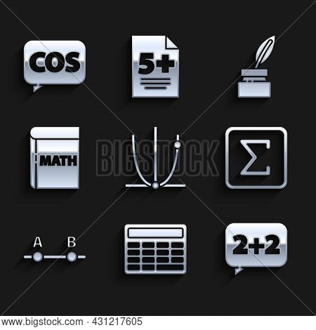 Set Graph, Schedule, Chart, Diagram, Calculator, Equation Solution, Sigma Symbol, Book With Word Mat