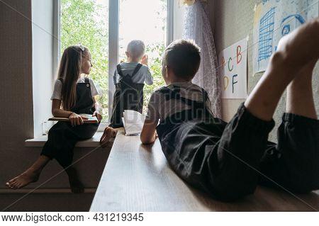 Back To School, Homeschooling, Online Study, Home Quarantine Online Learning Education. Schoolchildr
