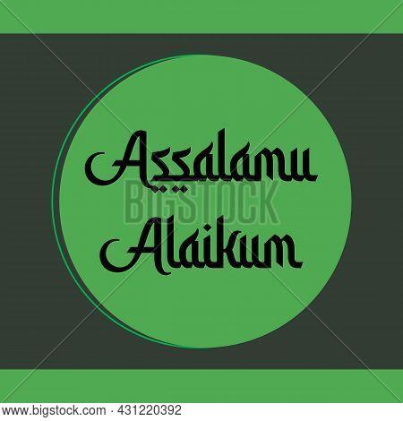 Assalamu Alaikum Religious Greetings Arabic Style Typography Text. Islamic Typography Poster Vector