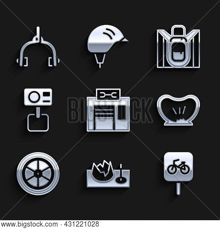 Set Bicycle Repair Service, On Street Ramp, Parking, Punctured Tire, Wheel, Action Extreme Camera, H