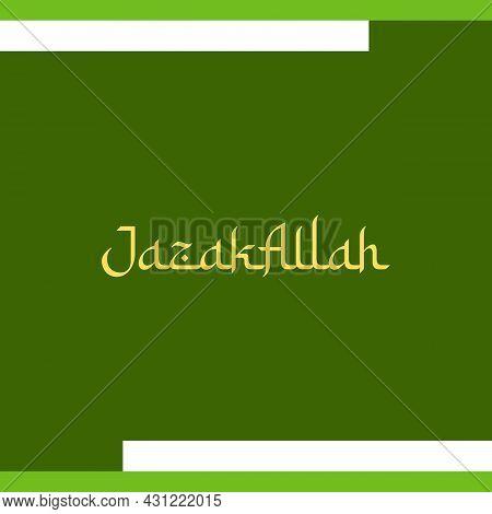 Jazakallah Arabic Style Typography Text. Islamic Typography Poster Vector Design