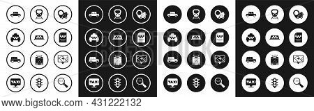 Set Location With Bus, Taxi Car Roof, Car, Driver License, High-speed Train, Gps Device Map And Icon