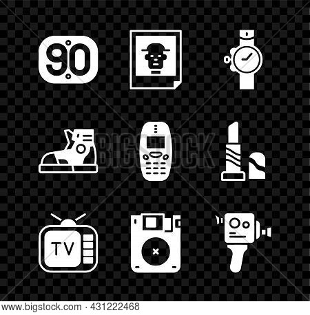Set 90s Retro, Photo, Wrist Watch, Tv, Floppy Disk, Cinema Camera, Sport Sneakers And Old Mobile Pho