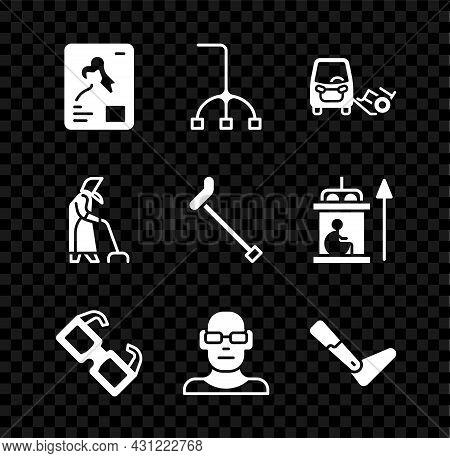 Set X-ray Shots, Walking Stick Cane, Disabled Car, Eyeglasses, Poor Eyesight, Prosthesis Leg, Grandm