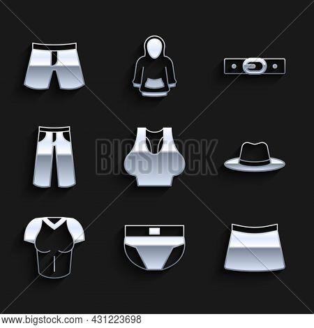 Set Undershirt, Men Underpants, Skirt, Man Hat, T-shirt, Pants, Belt And Short Or Icon. Vector